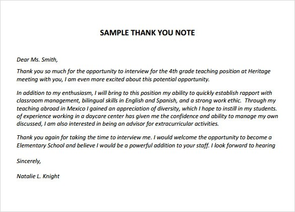 6 Thank You Notes for Teachers for Free Download Sample Templates