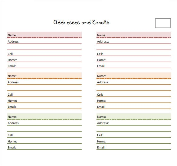 telephone address book template - Onwebioinnovate
