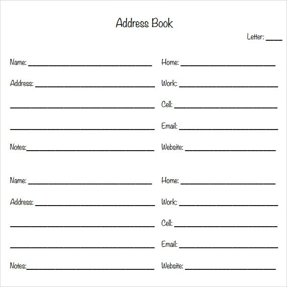 template for address book