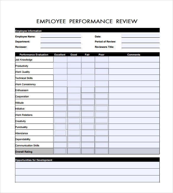 employee reviews template - Vatozatozdevelopment