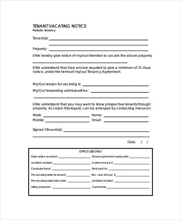 10+ Sample Notice To Vacate Letters Sample Templates - notice to vacate template letter
