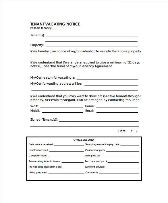 notice to vacate template hitecauto - notice form example