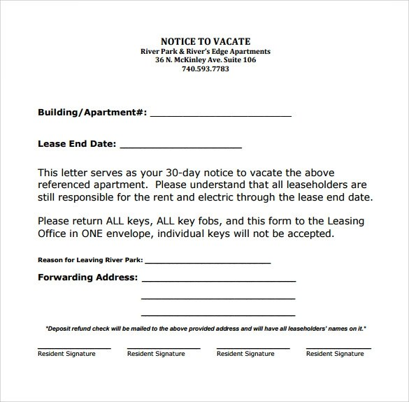intent to vacate letter florida free printable notice of intent to vacate form sample property form