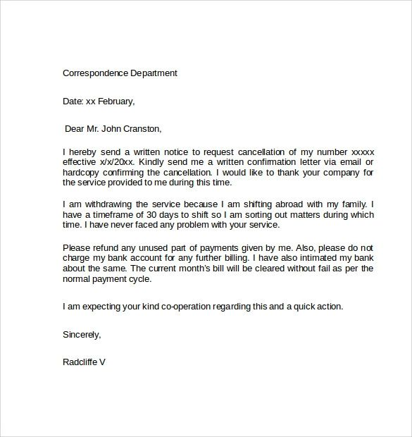 sample cancellation of service letter