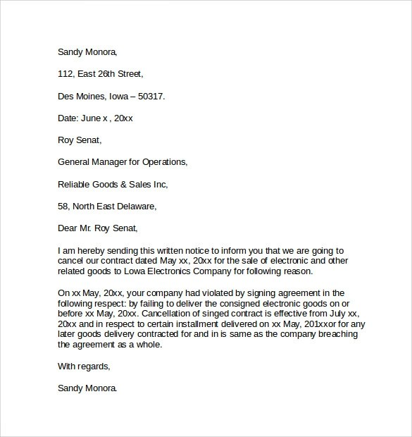 Contract Cancellation Letter Free Professional Resume CV Maker