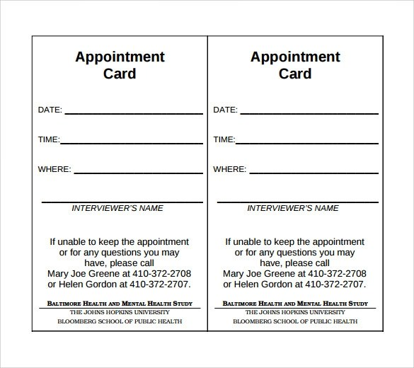 sle appointment card template - Teacheng