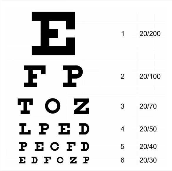 12+ Eye Chart Templates Sample Templates - eye chart template