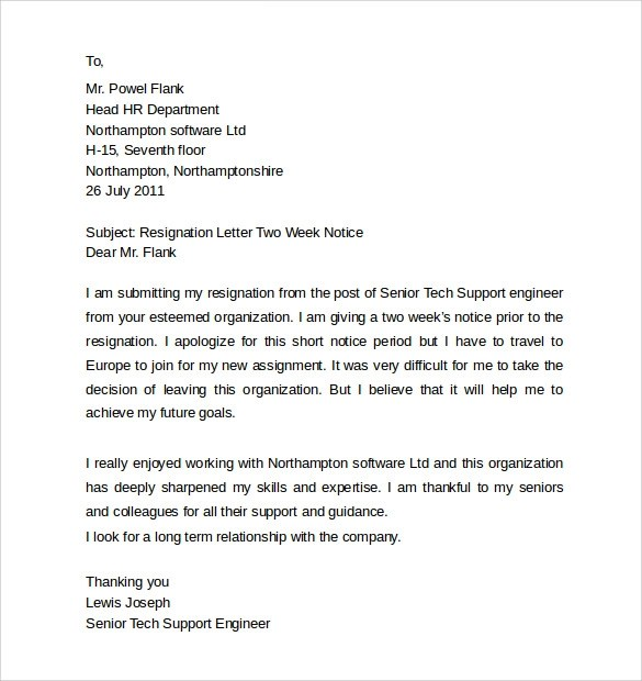 Resignation Letter For Mechanical Technician