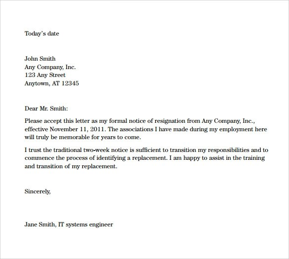 Resignation Letters Letter Of Resignation Templates Sample Resignation Letters 2 Week Notice 8 Free