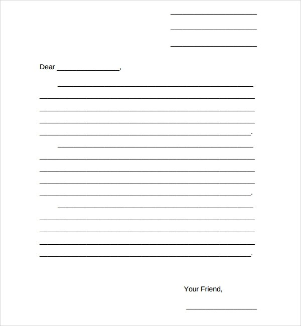 9+ Friendly Letter Format Templates Sample Templates