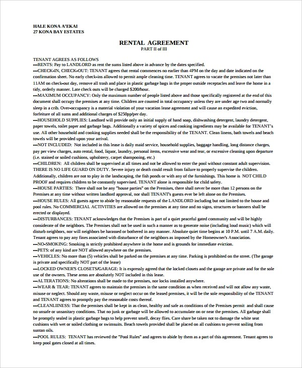 9+ Sample Vacation Rental Agreements Sample Templates