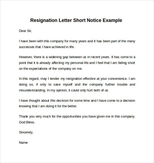 7+ Resignation Letters Short Notice Sample Templates - writing a resignation letter