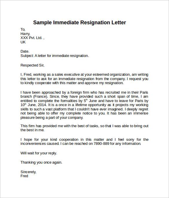 resignation letter samples short notice