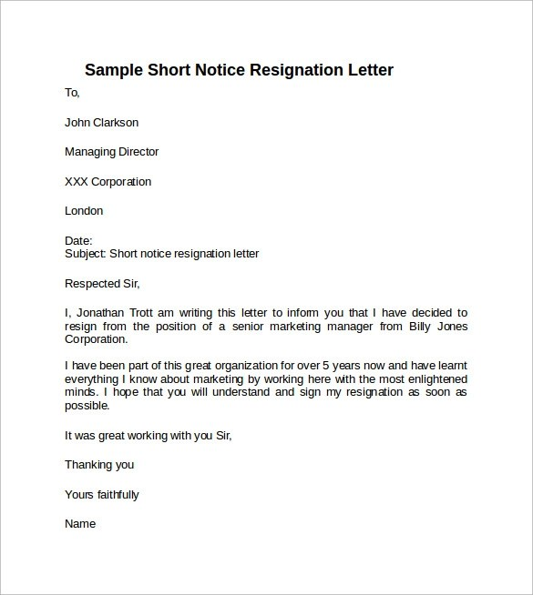 Example Resignation Letter 9 Professional Resignation Sample - sample resignation letters