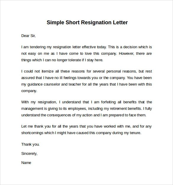 Sample Resignation Letter Short Notice - 6+ Free Documents - retirement letters