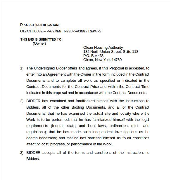 bid proposal forms templatebillybullock - bid proposal forms