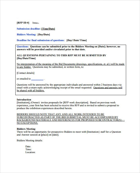 12+ Bid Proposal Templates Sample Templates - Bid Proposal Template Free