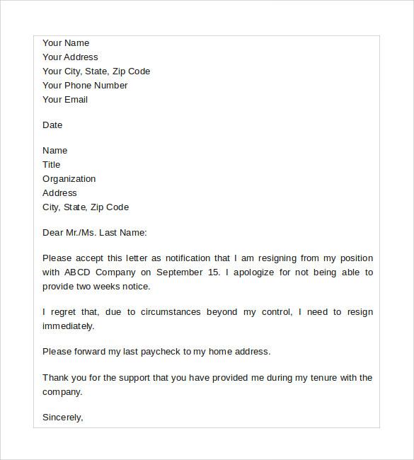 Resignation Letter Samples Download Pdf Doc Format Sample Resignation Letter No Notice 7 Free Documents In