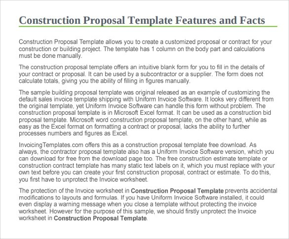 11+ Construction Proposal Templates Sample Templates - construction proposal template word