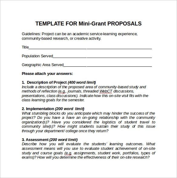 10+ Sample Grant Proposals - Word, PDF, Pages