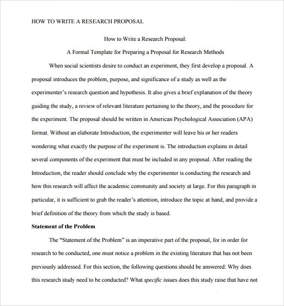 Research Proposal Example Sample Research Paper Proposal Template 9 Free
