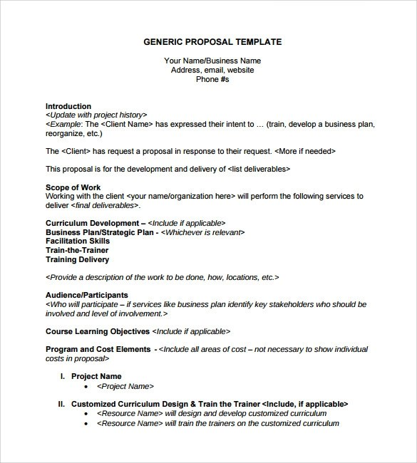 Sample Generic Business Proposal - 7+ Documents In PDF, Word