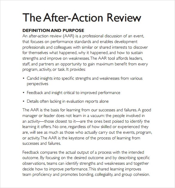 8 After Action Review Templates Download for Free Sample Templates
