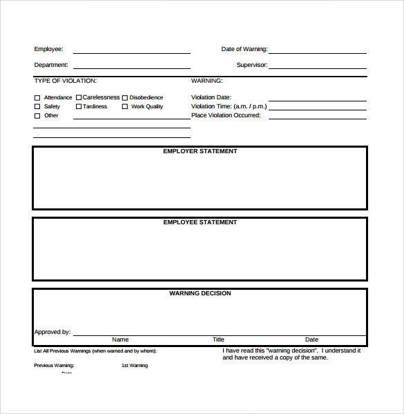 formal write up for employee template