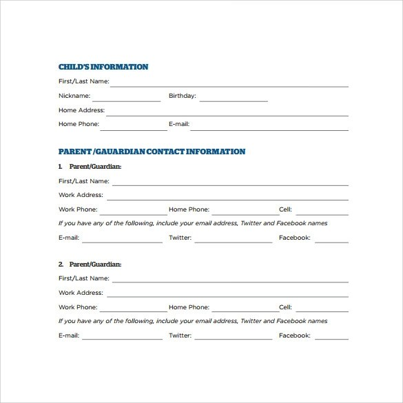 child emergency contact form - Onwebioinnovate - emergency contact form