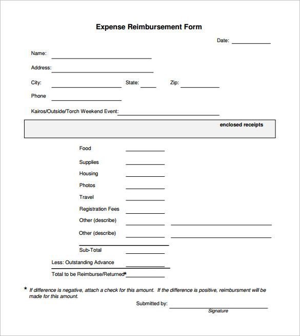 sample reimbursement form