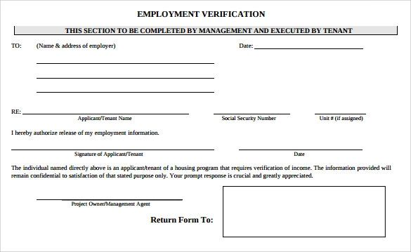 employment letter of verification