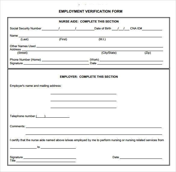 free employment verification form - Deanroutechoice - employment verification form