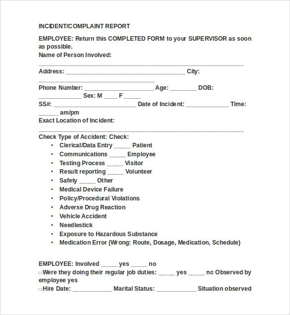 OSHA 300 Forms - 7+ Free Documents in PDF, Word - sample patient complaint form