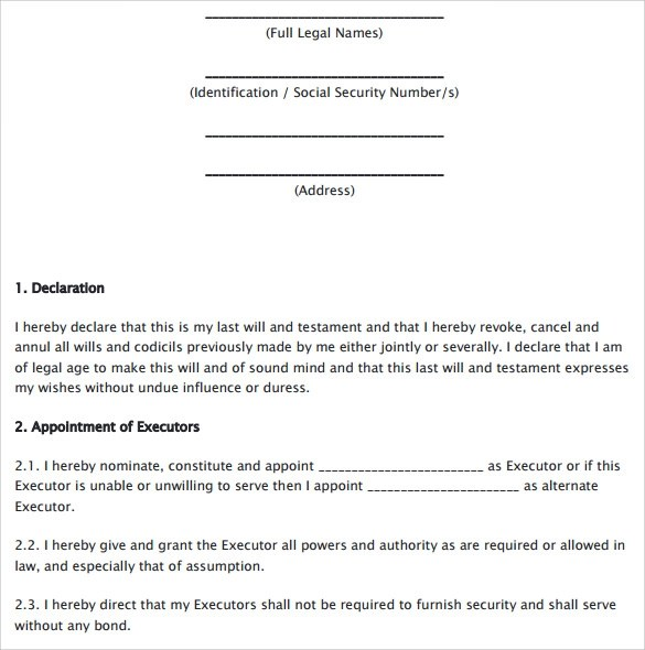 Last Will and Testament Forms - 6+ Download Free Documents in PDF - last will and testament form