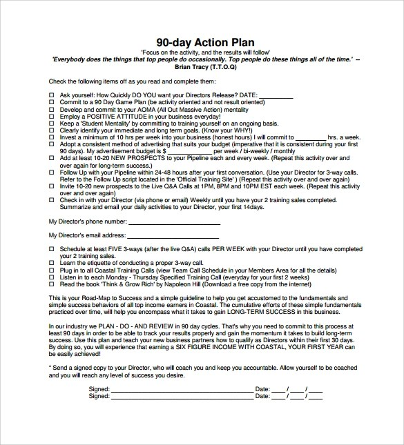 Sample 90 Day Plan - 11+ Documents In PDF - 30 60 90 day action plan template