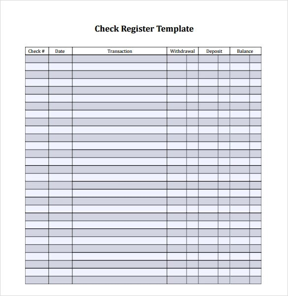 Check Register Template cyberuse - checkbook register template