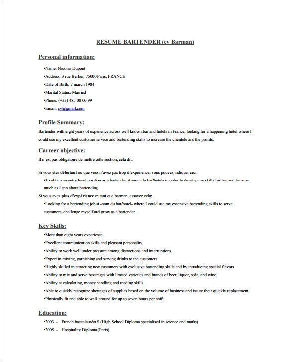 8 Bartender Resume Templates Download for Free Sample Templates