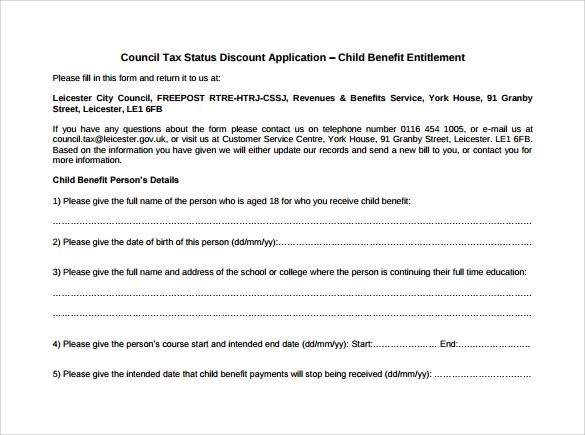 Address For Child Benefit Form