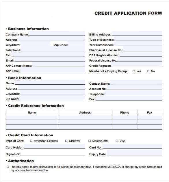 business credit application form template