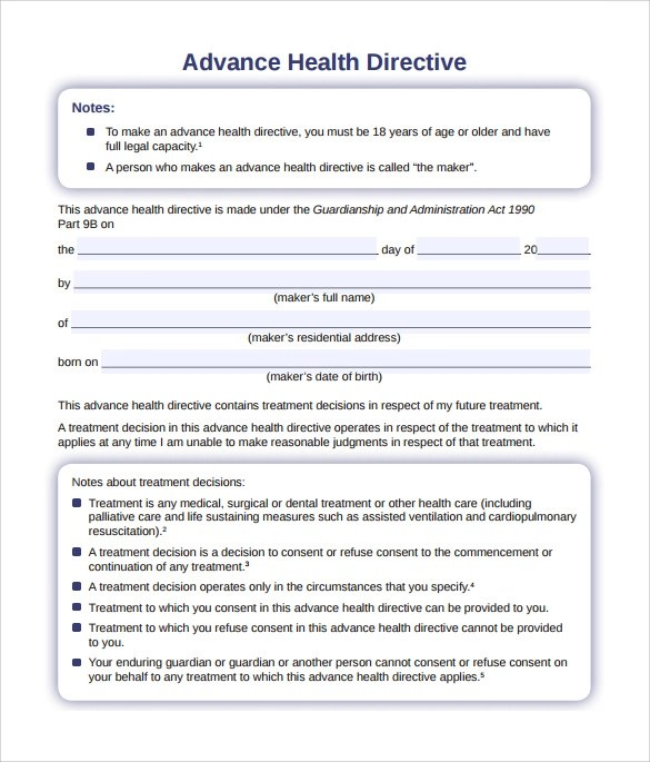10 Sample Advance Directive Forms To Download Sample Templates - Advance Directive Forms