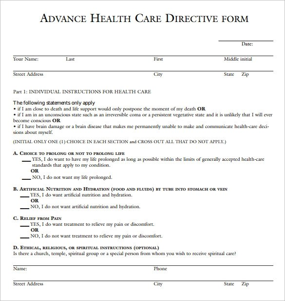 10 Sample Advance Directive Forms To Download Sample Templates