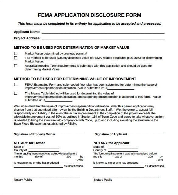 8+ FEMA Application Forms Sample Templates - fema application form