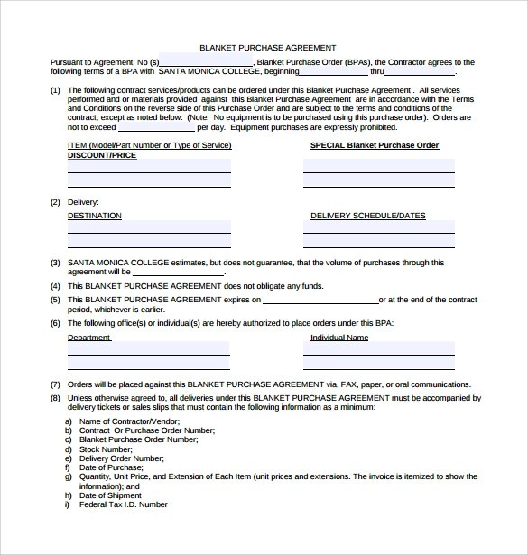 Blanket Purchase Agreement Templates - 8+ Download Free Documents - purchase agreement samples