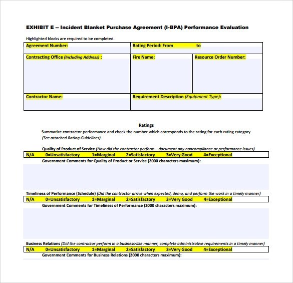 Blanket Purchase Agreement Templates - 8+ Download Free Documents in