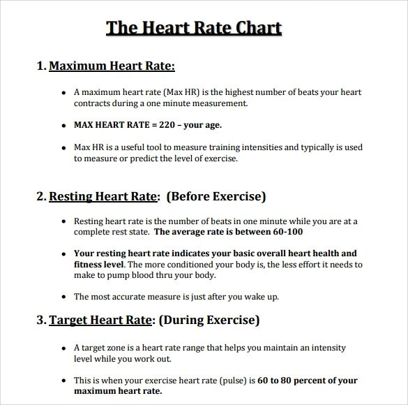 11+ Heart Rate Chart Templates Sample Templates - Heart Rate Chart Template