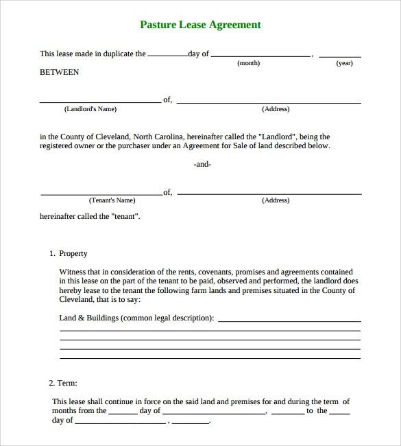 15+ Land Lease Agreements \u2013 Samples, Examples  Format Sample - Sample Pasture Lease Agreement Template