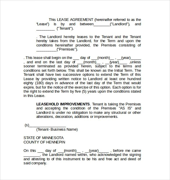 8 Commercial Lease Agreement Templates \u2013 Samples , Examples  Format