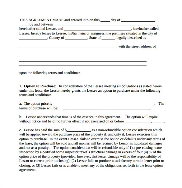 10+ Sample Lease Purchase Agreement Templates Sample Templates - lease to buy agreement template