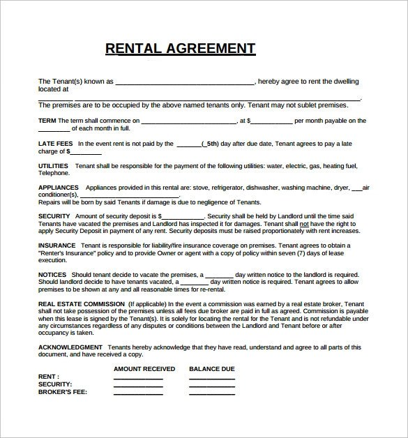 Rental Lease Agreement Samples , Examples \ Formats - 8+ - lease agreements sample