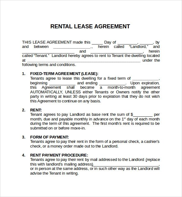 Simple Rental Agreement Format In Word  Create Professional